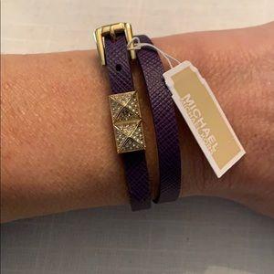 NWT Michael Kors Purple Leather Wrap Bracelet